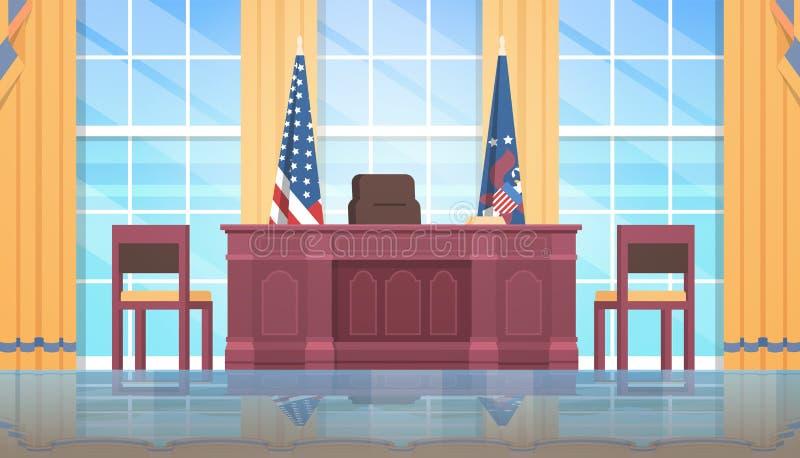 Bureau ovale en bois de drapeau national des Etats-Unis de meubles de présidents des Etats-Unis d'Amérique de jour de concept de  illustration de vecteur
