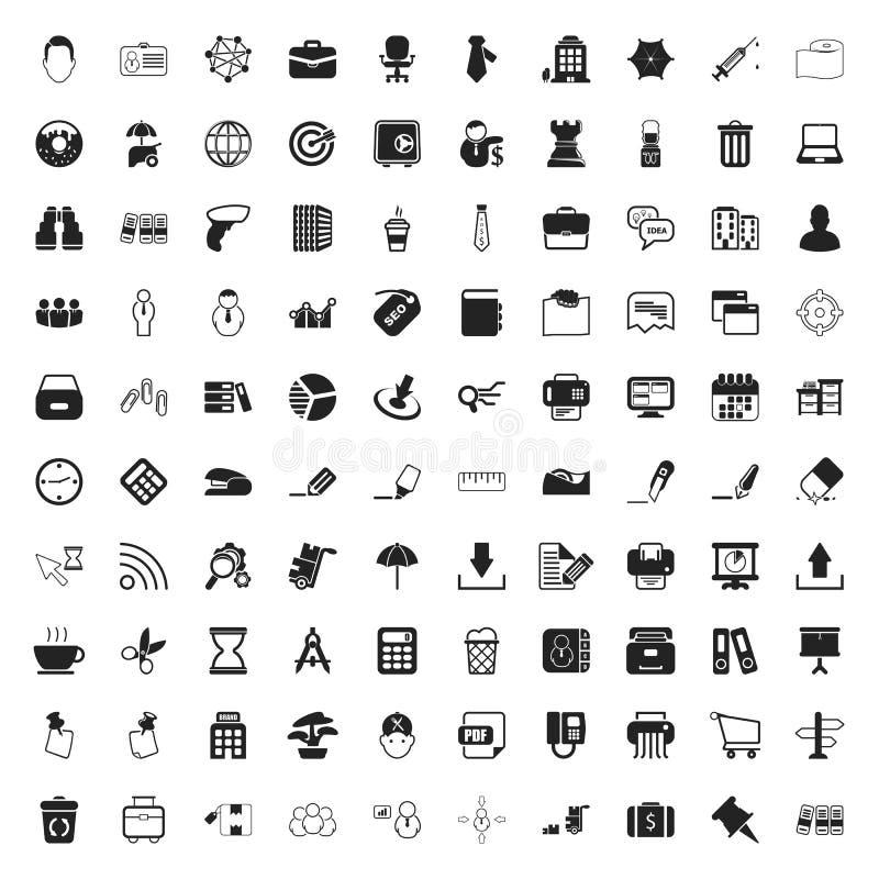 Bureau 100 pictogrammen voor Web worden geplaatst dat stock illustratie