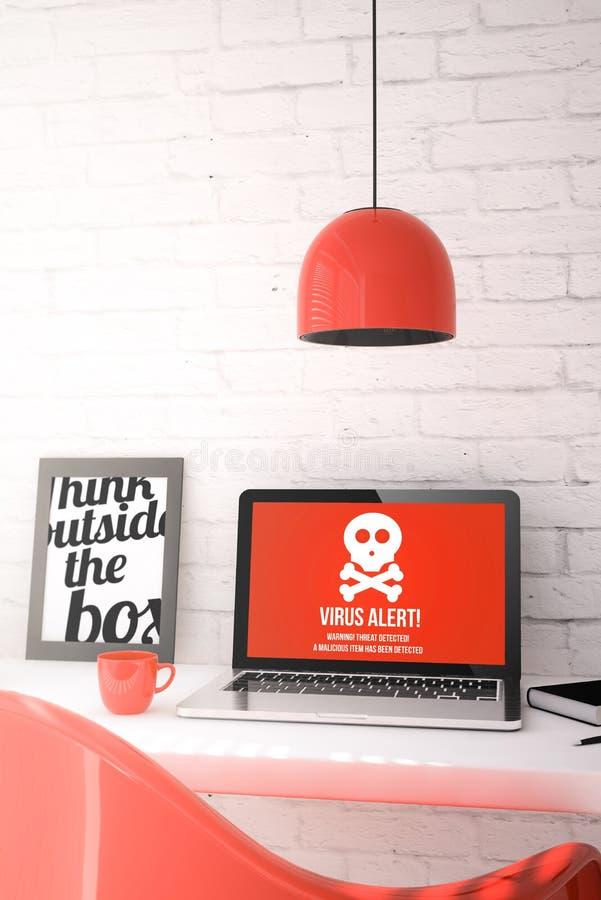 Bureau rouge avec l'ordinateur portable montrant l'alerte de virus illustration libre de droits