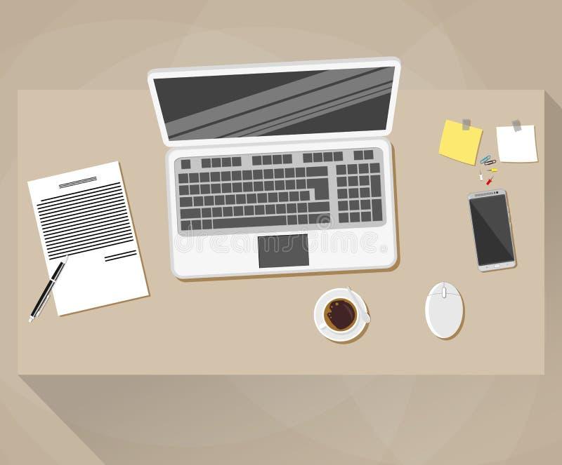 Bureau, style plat de conception d'espace de travail illustration de vecteur