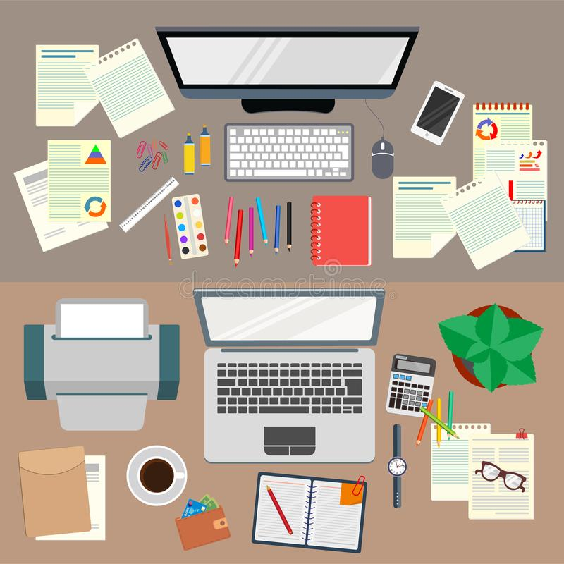 bureau travail Organisation réaliste de lieu de travail La vue à partir du dessus illustration stock