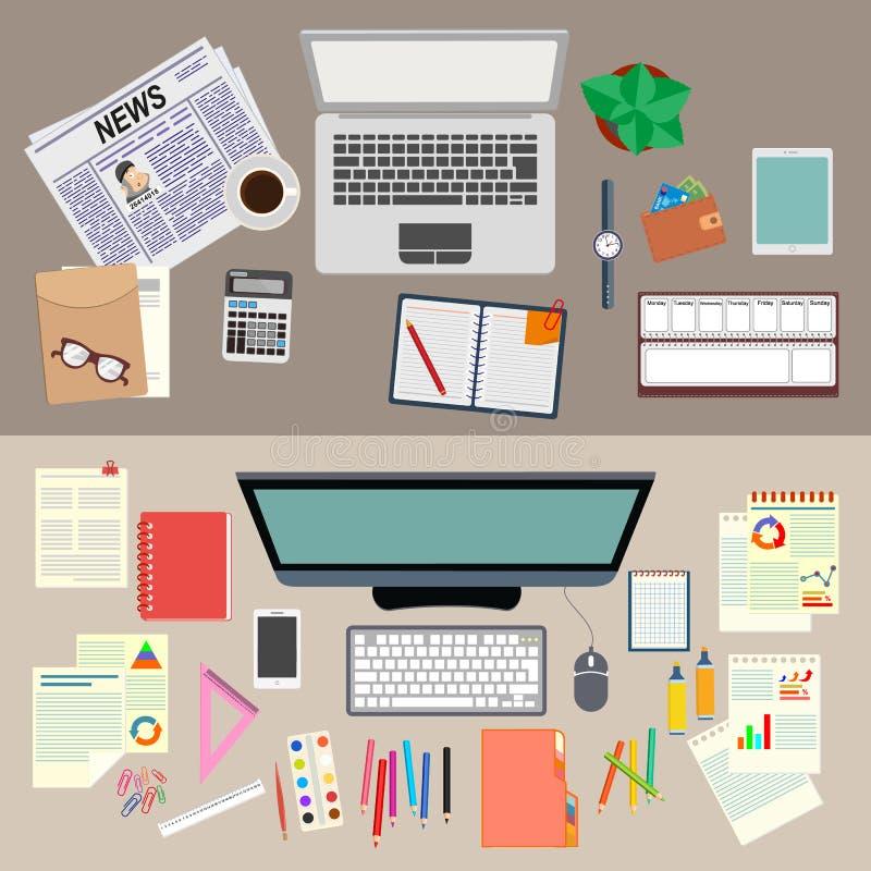 bureau travail Organisation réaliste de lieu de travail La vue à partir du dessus Illustration courante de vecteur illustration libre de droits