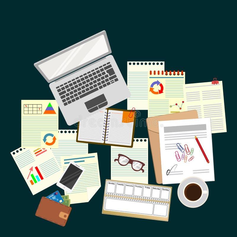 bureau travail workplace bureau La vue à partir du dessus illustration libre de droits