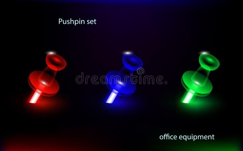 Bureau vastgestelde punaise, punaiserood, blauw en groen De wijzer transparant voorwerp van de ontwerpplaats op donkere, zwarte a royalty-vrije illustratie