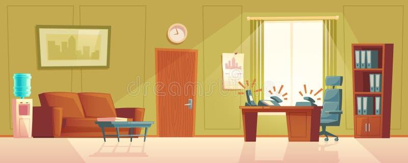 Bureau vide de bande dessinée de vecteur avec le téléphone de sonnerie, lobby illustration stock