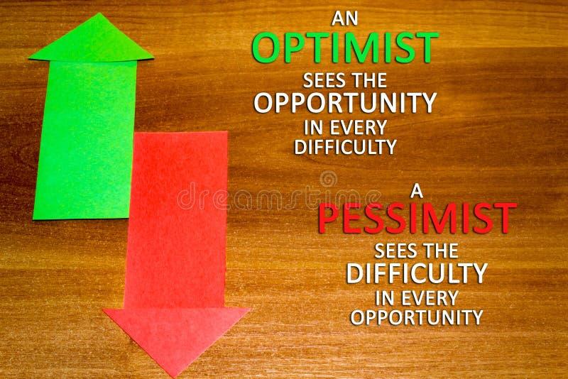Bureau, zaken, het concept van het onderwijsstilleven op houten achtergrond Optimist en pessimist royalty-vrije stock foto's