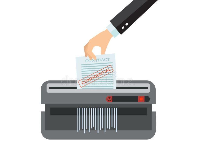 Bureauapparaat voor vernietiging van documenten Man Hand die document in ontvezelmachinemachine zetten Het concept van de documen stock illustratie