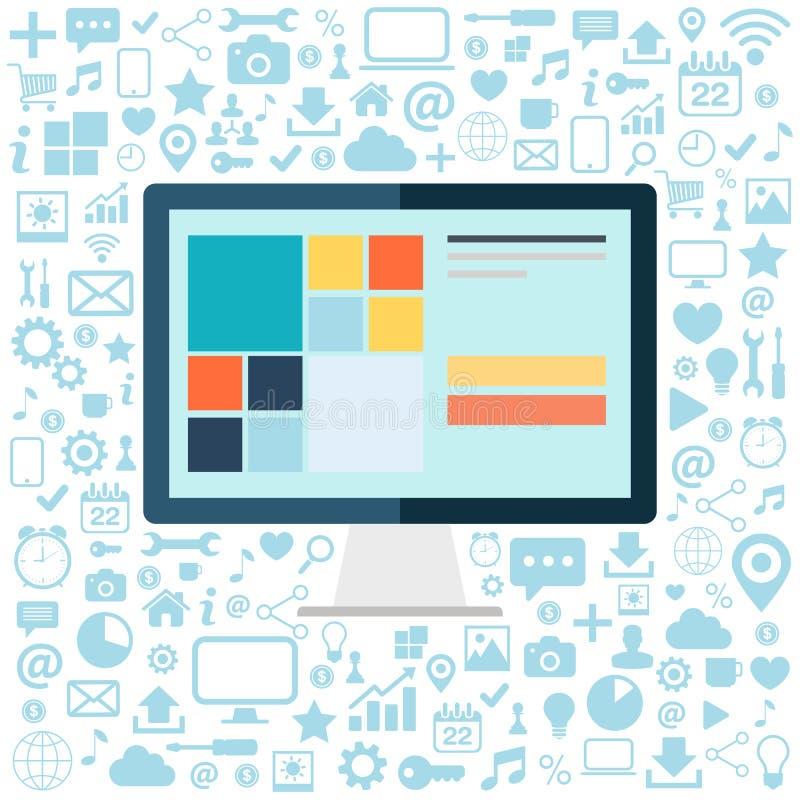 bureaucomputer met blauwe pictogrammen die op witte achtergrond worden geplaatst Vlakke vectorillustratie vector illustratie
