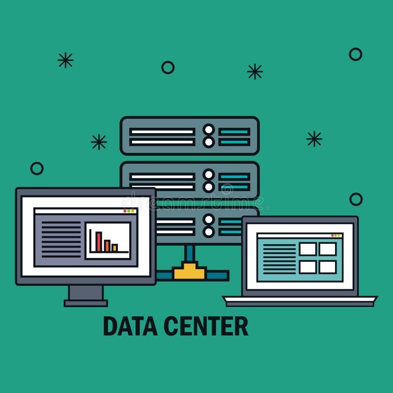 bureaucomputer met de pictogrammen van het gegevenscentrum royalty-vrije illustratie