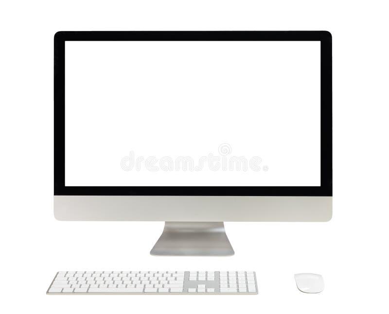 bureaucomputer met het witte scherm royalty-vrije stock afbeeldingen