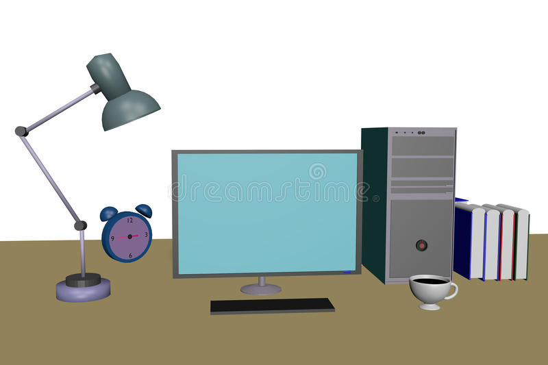 bureaucomputer op de lijst met lamp en klok stock afbeelding