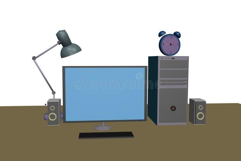 bureaucomputer op de lijst met sprekerslamp en klok stock foto
