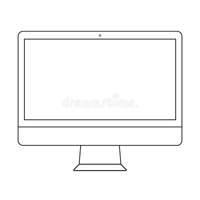 bureaucomputeroverzicht Het scherm het overzicht van de bureaucomputermonitor Het overzicht vectoreps10 van de computervertoning vector illustratie