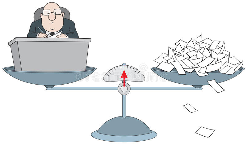 Bureaucrat on the scales with the pile of paper stock illustration