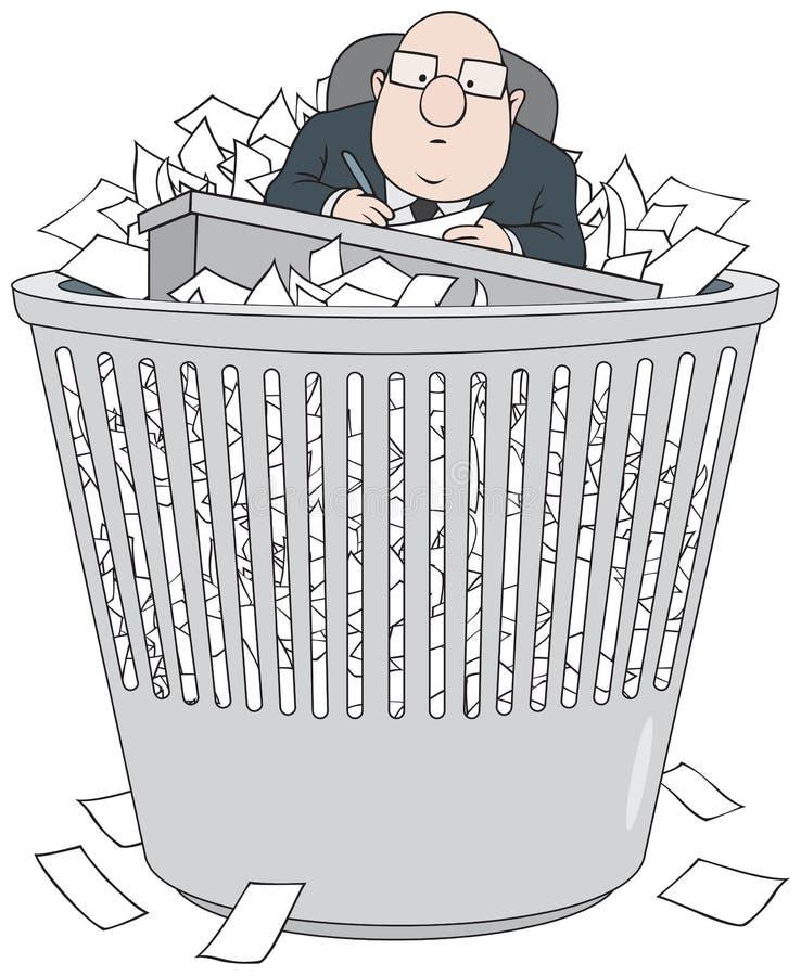 Bureaucrat in wastepaper basket royalty free illustration