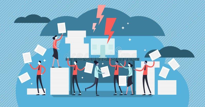 Bureaucratie vectorillustratie Vlak uiterst klein de personenconcept van de administratiestapel vector illustratie