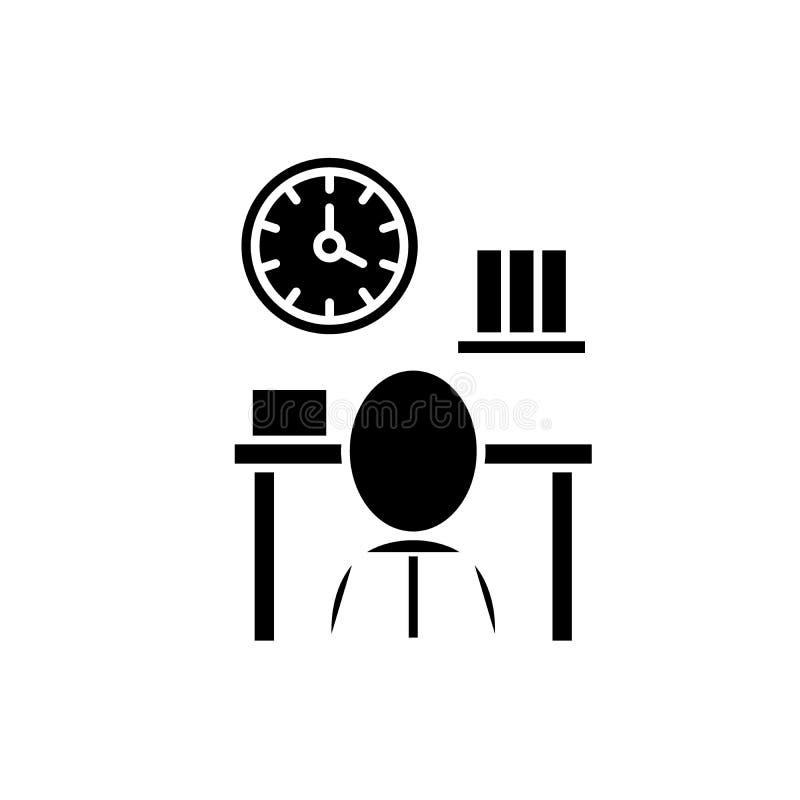 Bureaucratie zwart pictogram, vectorteken op geïsoleerde achtergrond Het symbool van het bureaucratieconcept, illustratie royalty-vrije illustratie