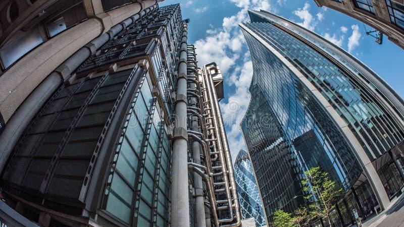 Bureaugebouwen in het financiële district van de Stad van Londen royalty-vrije stock foto