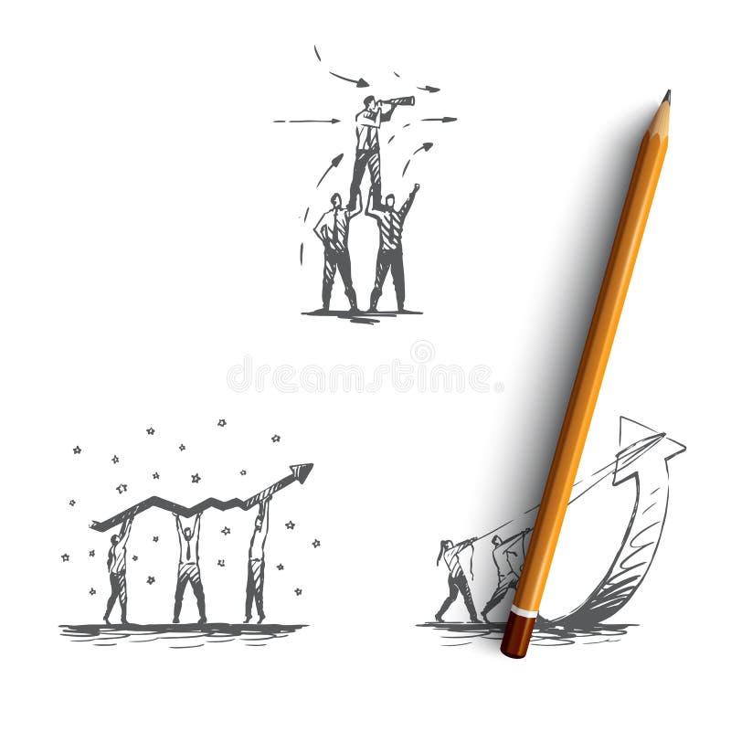 Bureaugroepswerk - bedrijfsmensen in teams, holding en het dragen marketing reeks die van het indicatoren de vectorconcept voorui vector illustratie