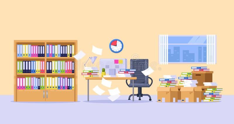 Bureaukabinet met stapels van document documenten, dossiers en omslagen Uiterste termijn, bureaucratie en administratie vectorill vector illustratie