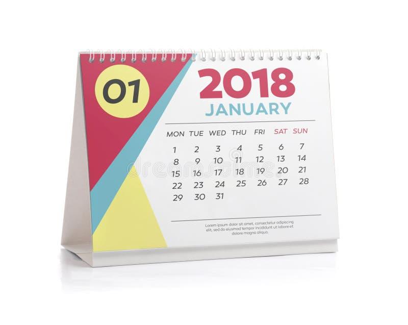 Bureaukalender 2018 Januari royalty-vrije stock foto's