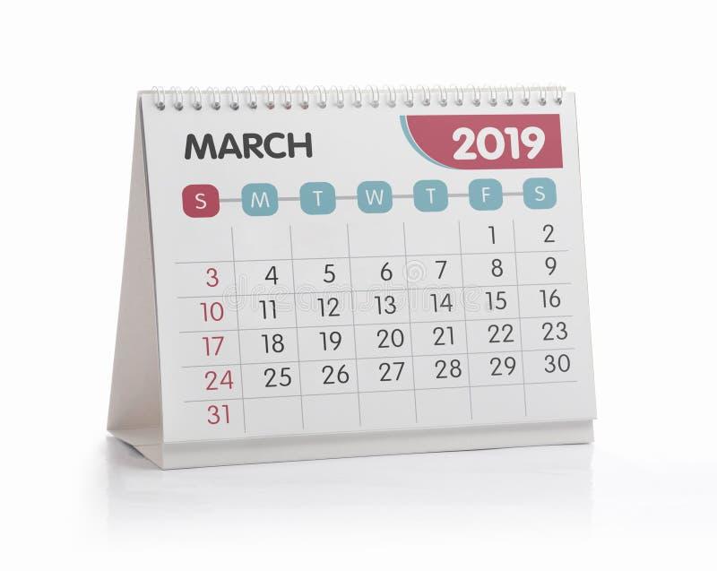 Bureaukalender 2019 Maart stock afbeelding