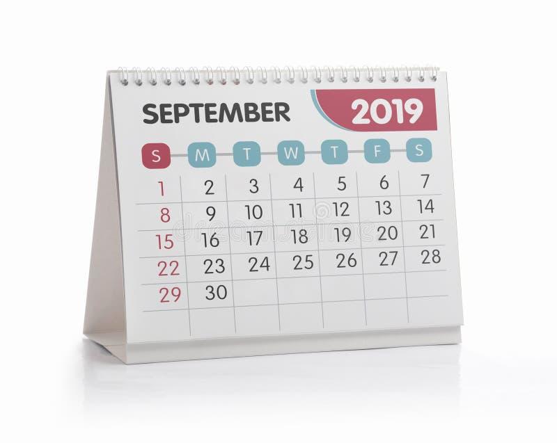 Bureaukalender 2019 September royalty-vrije stock afbeeldingen