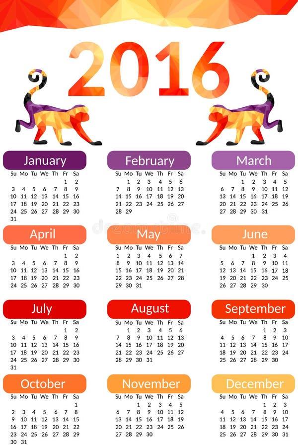 Bureaukalender 2016 Vector ontwerp Kalendermalplaatje van 12 maand met modieus patroon - de rode aap maakte van geometrische vorm royalty-vrije illustratie