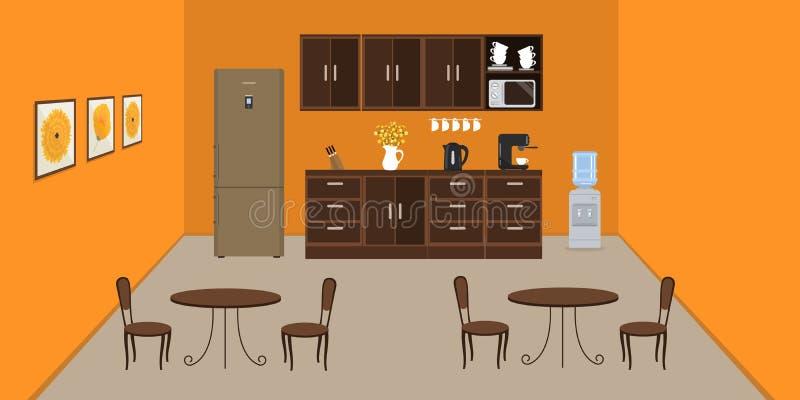 Bureaukeuken in oranje kleur Moderne eetkamer in het bureau vector illustratie
