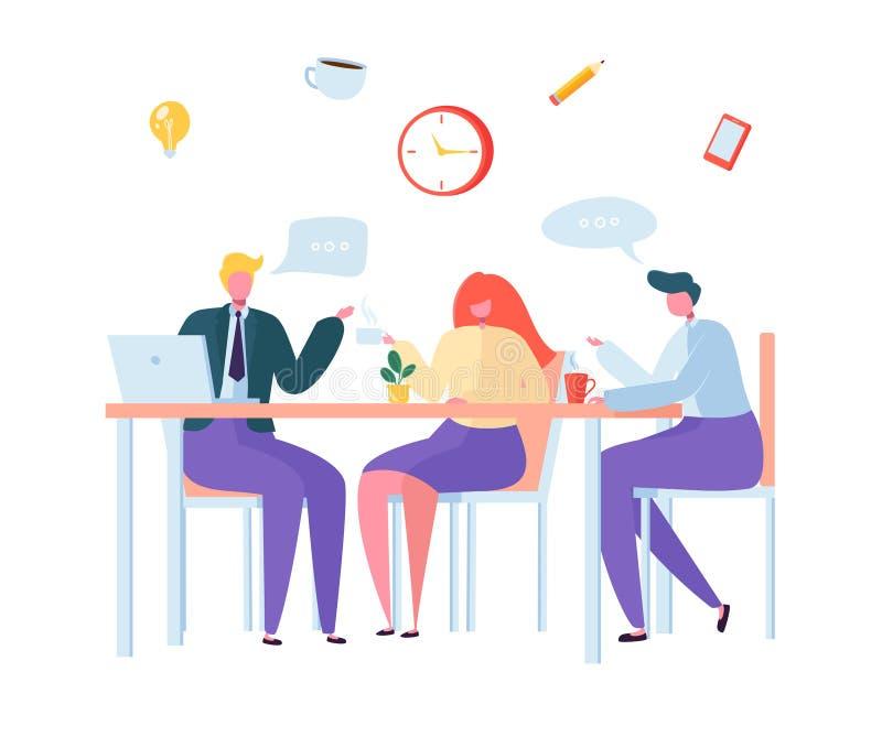 BureauKoffiepauze Bedrijfskarakters op Lunchtijd Werknemers samen en het Drinken Thee die zitten Collega's het babbelen stock illustratie
