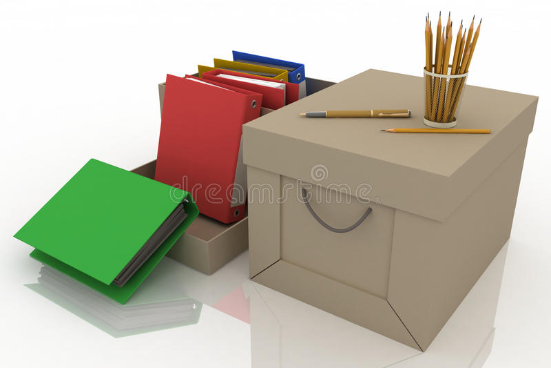 Bureaulevering met potloden en bureauomslagen in kartondoos royalty-vrije illustratie