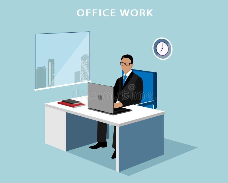 Bureaumanager die bij computer in het bureau werken 3d isometrische anonieme mens met laptop royalty-vrije illustratie