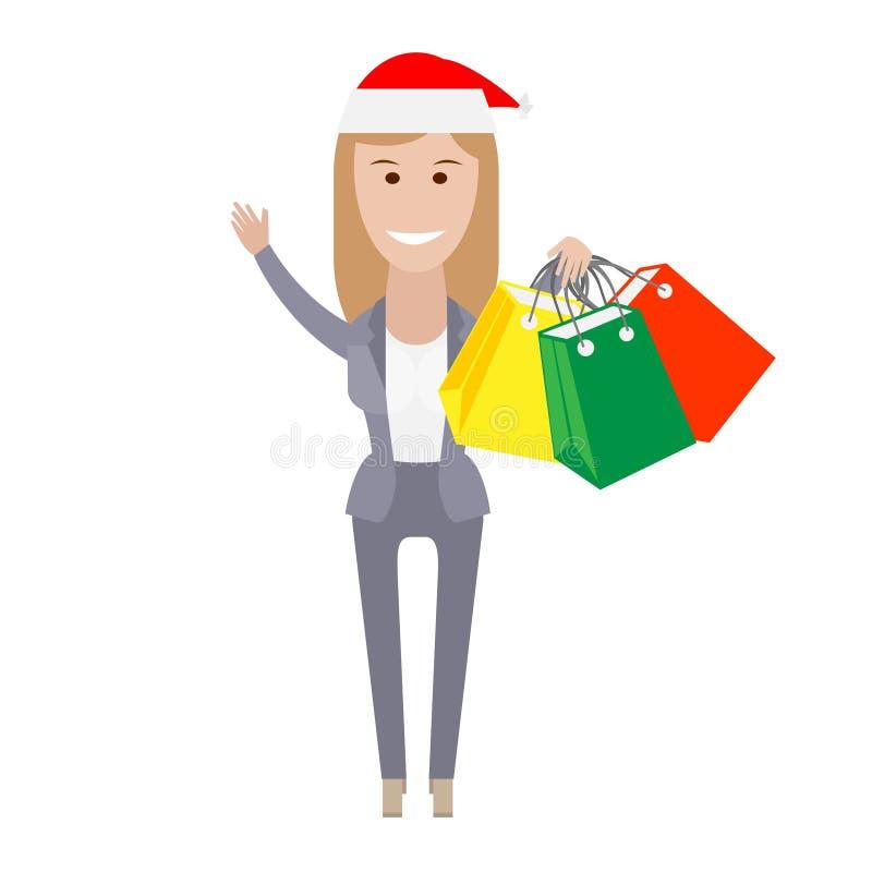 Bureaumeisje met het winkelen zakken royalty-vrije illustratie