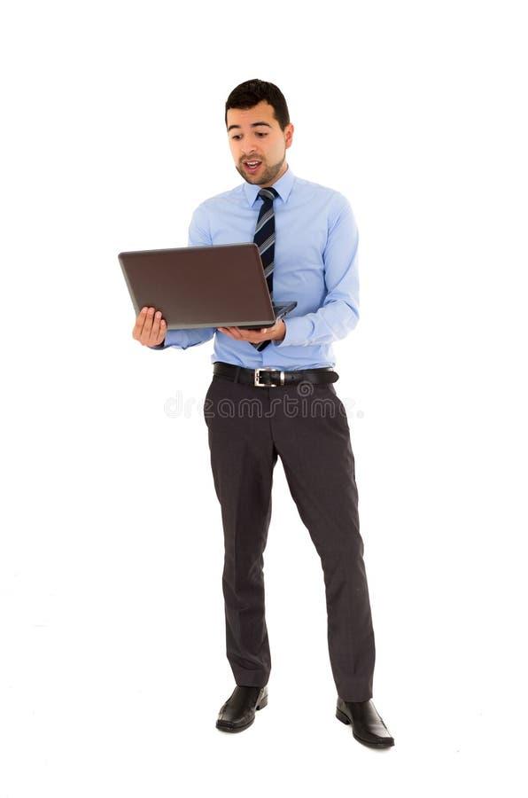 Bureaumens met laptop royalty-vrije stock foto's
