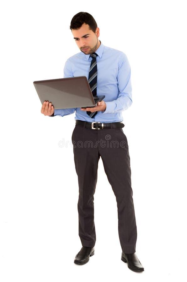 Bureaumens met laptop royalty-vrije stock fotografie