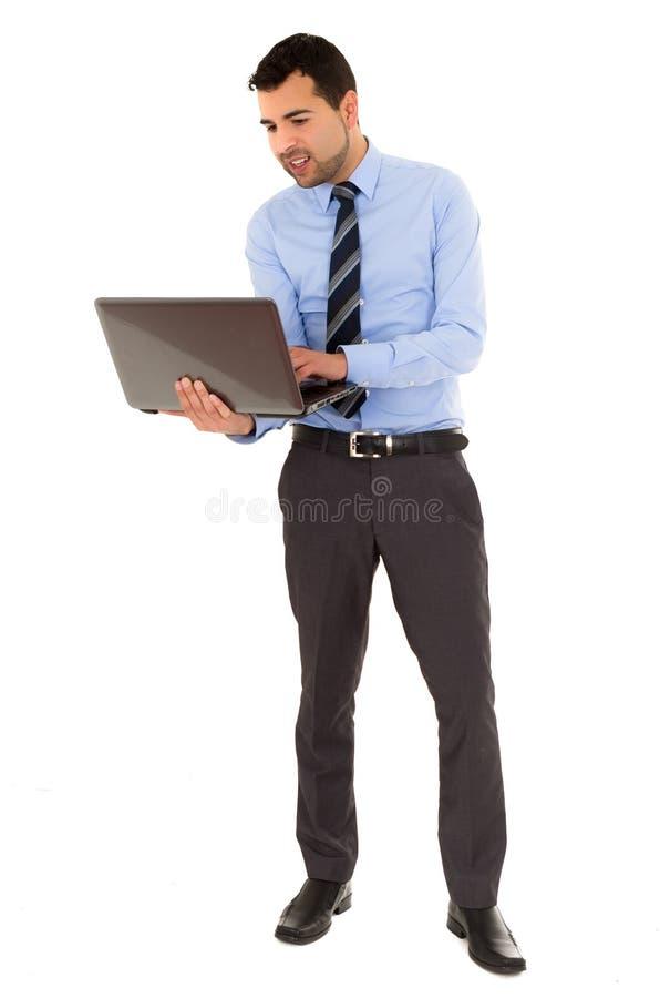 Bureaumens met laptop royalty-vrije stock afbeelding