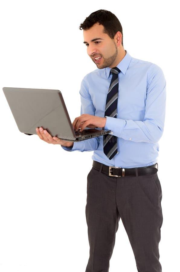 Bureaumens met laptop stock fotografie