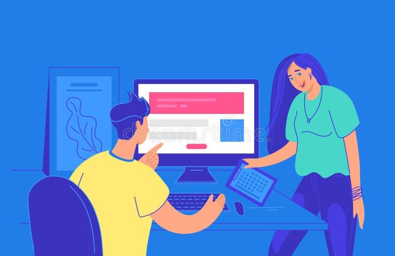 Bureaumensen die over projectuiterste termijn bij het werkbureau spreken vector illustratie