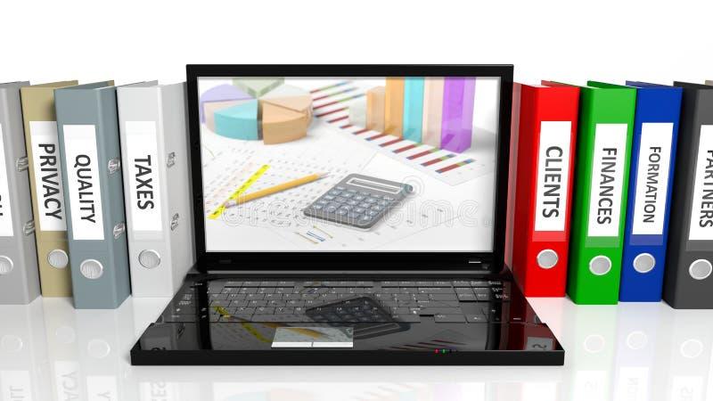 Bureauomslagen op een rij en laptop vector illustratie