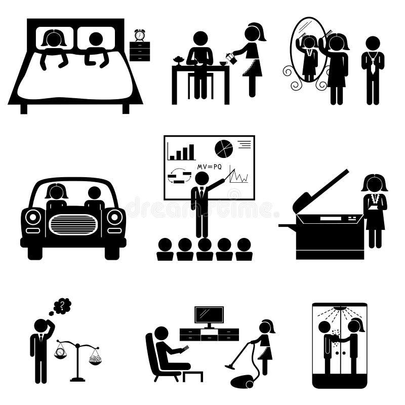 Bureaupictogrammen met stokken royalty-vrije illustratie
