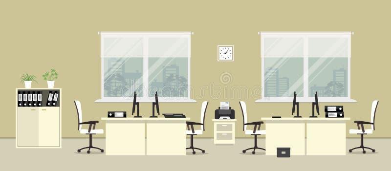Bureauruimte in een beige kleur met wit meubilair vector illustratie