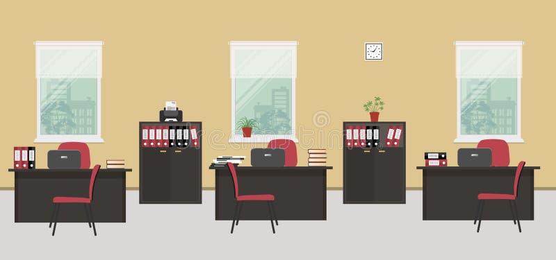 Bureauruimte in een beige kleur met zwart meubilair en rode stoelen vector illustratie