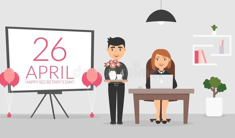 Bureauruimte op 26 April, De mannelijke beambte wenst zijn vrouwelijke collega een Gelukkige Secretaresse` s Dag en stelt een cof vector illustratie