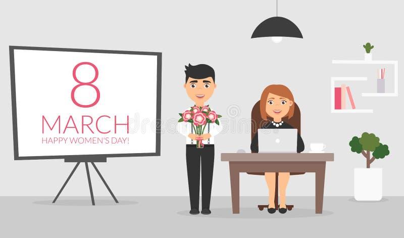 Bureauruimte op 8 Maart, De mannelijke beambte wenst zijn vrouwelijke collega een Gelukkige Vrouwen` s Dag en stelt een boeket vo stock illustratie