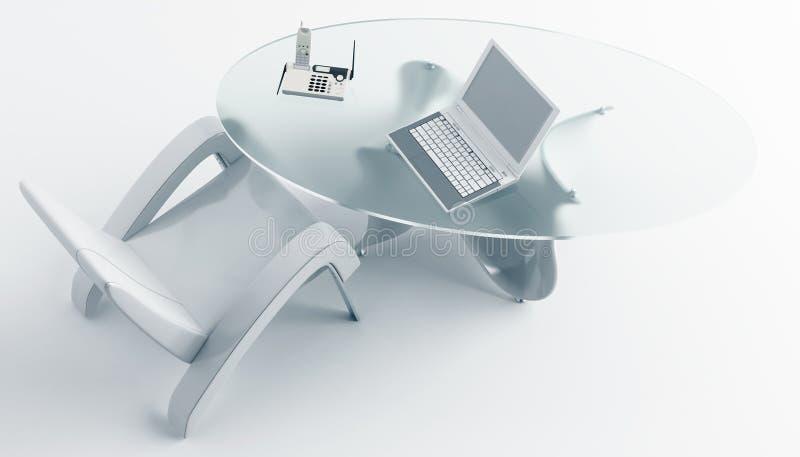 Bureaustoel en laptop royalty-vrije stock foto