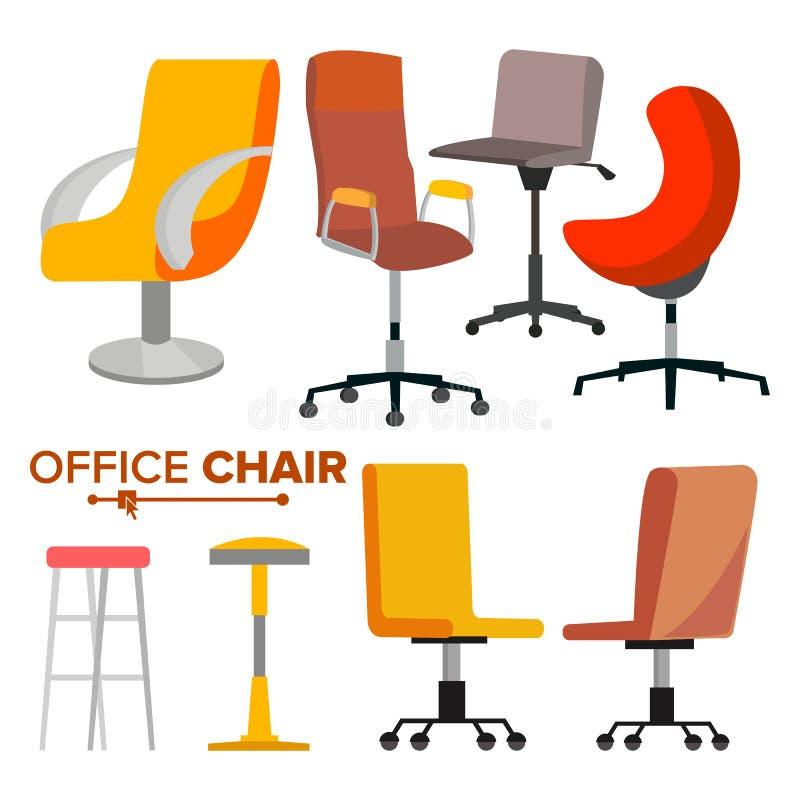 Bureaustoelen Geplaatst Vector En zaken die huren aanwerven Lege Stoel Seat voor Werknemer Ergonomische Leunstoel voor royalty-vrije illustratie