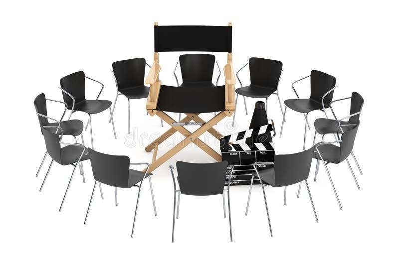 Bureaustoelen rond Bioskoop Directeur Chair, Filmklep en me stock illustratie