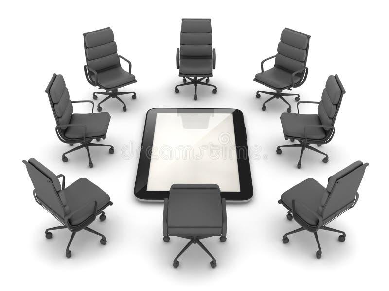 Bureaustoelen rond de tabletcomputer vector illustratie