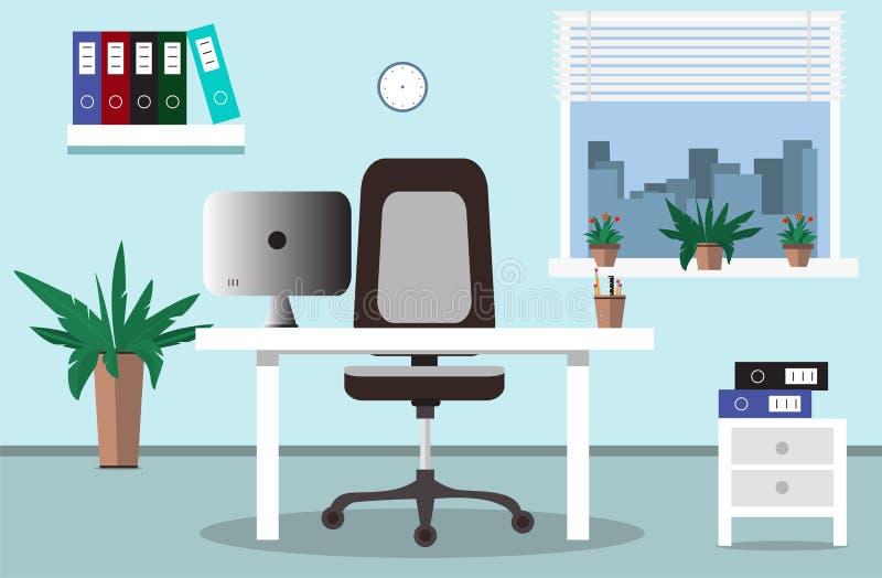 Bureauwerkplaats en binnenlandse bureauillustratie in vlakke stijl vector illustratie