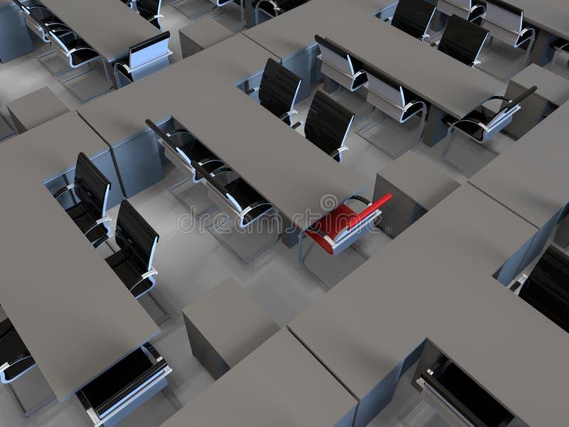 Bureaux vides avec les chaises accentuées illustration stock
